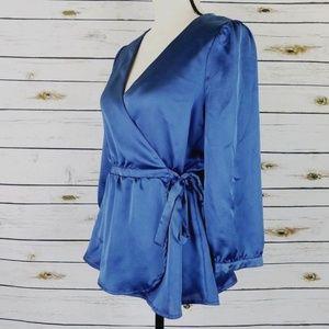 Blue satin wrap shirt